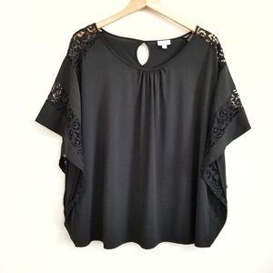 Avenue Black Sexy Lace Shoulder Blouse 14/16